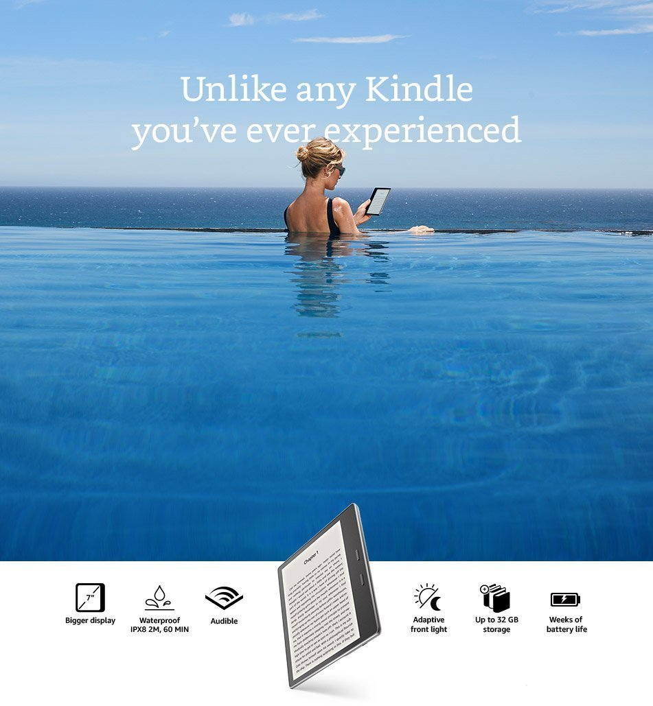 All-New Kindle Oasis E-reader - 7 inch Waterproof, Built-In Audible